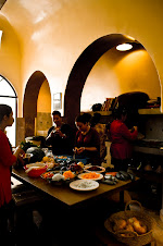 The team in the Riad Laaroussa kitchen