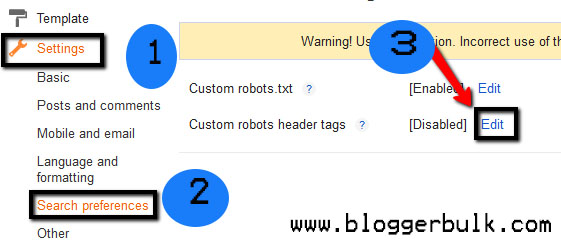 Enabling custom header tag setting in blogger