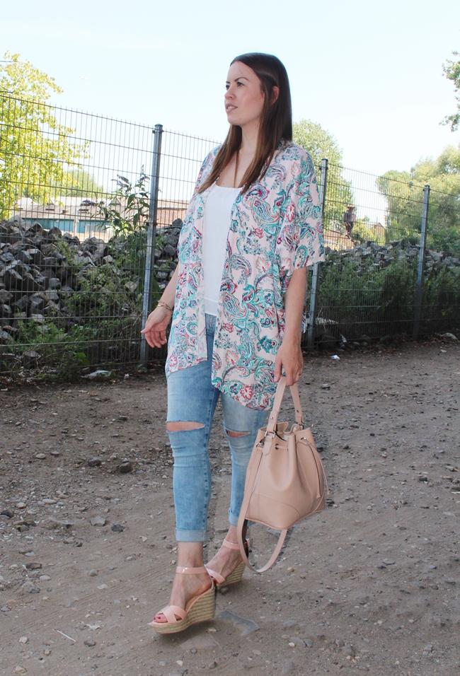 Blogger  Summerstyle, Kimono, Kimono-Look, Nude Bucket Bag