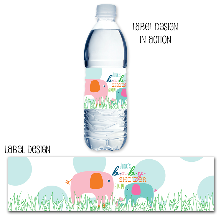 http://www.partyboxdesign.com/item_1624/Elephant-Baby-Girl-Shower-Water-Bottle-Label.htm