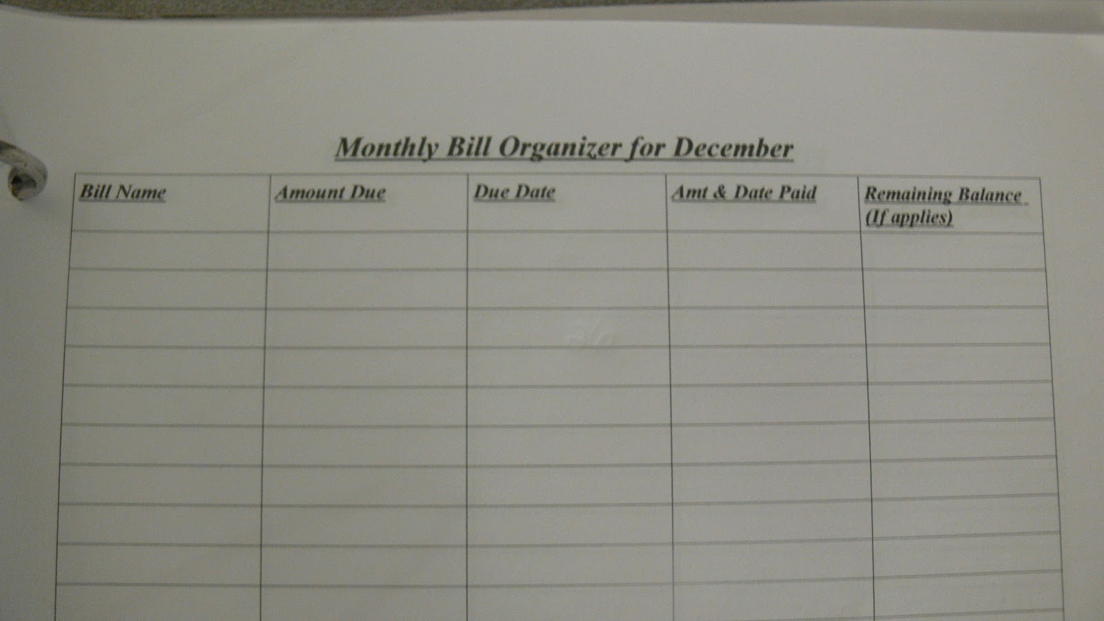 Free Printable Monthly Bill Organizer | New Calendar Template Site