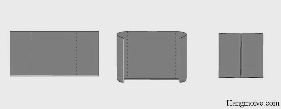 Bước 4: Gấp 2 cạnh 2 bên của hình chữ nhật vào trong sao cho 2 mép ngoài của chúng chạm vào nhau tại tâm của hình chữ nhật. Ta được một hình vuông.
