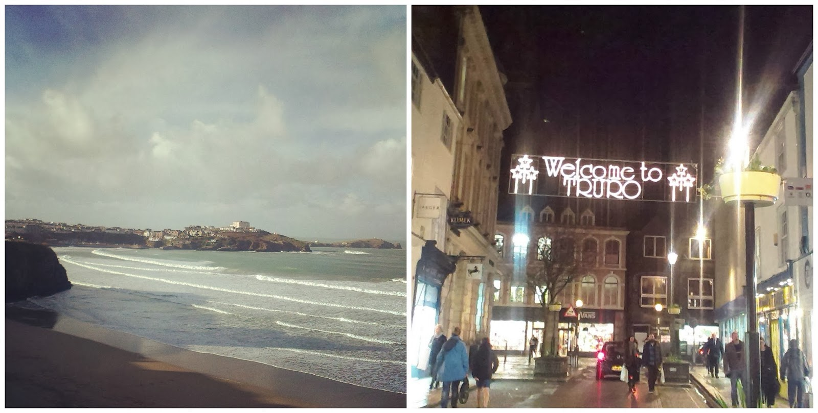 Newquay beach and Truro at Christmas
