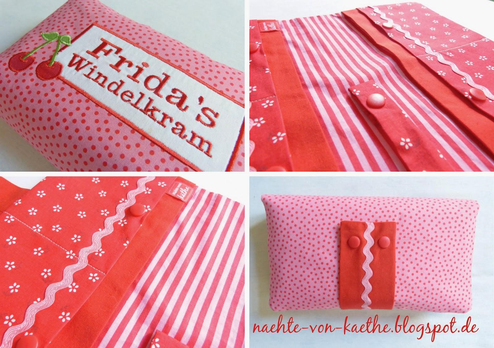 Windeltasche für Frida in rosa mit roten Punkten und Kirsch-Applikation