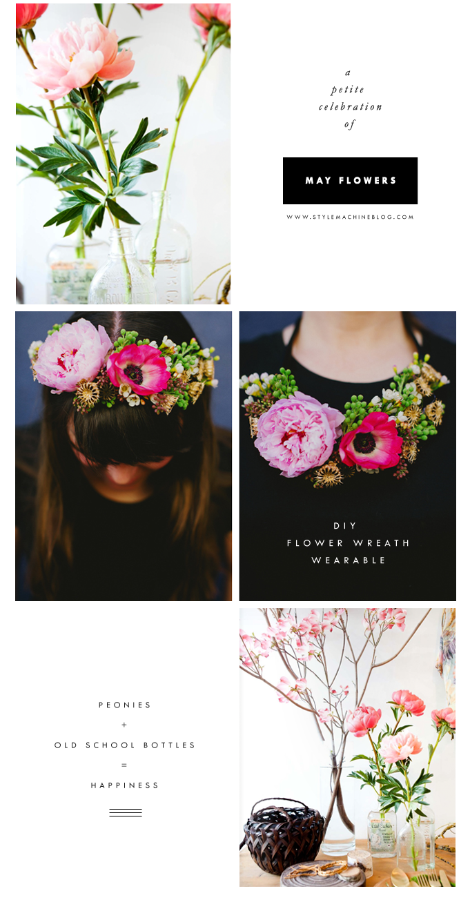 DIY wearable flower necklace and interior decor inspiration with peonies and old vintage bottles