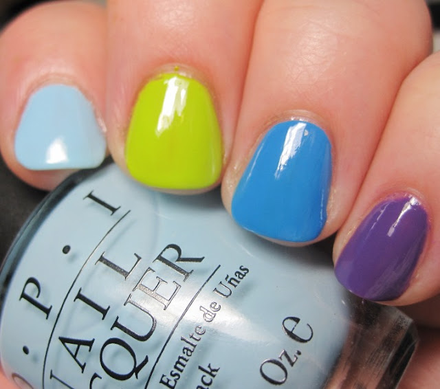 skittle mani with OPI Shrek collection