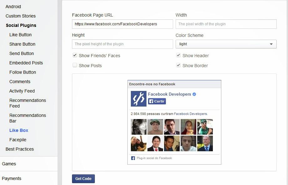 adicionar facebook like box