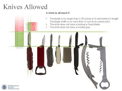 A knife is allowed if: • The blade is no longer than 2.36 inches or 6 centimeters in length The blade width is no more than ½ inch at its widest point • The knife does not have a locking or fixed blade • The knife does not have a molded grip