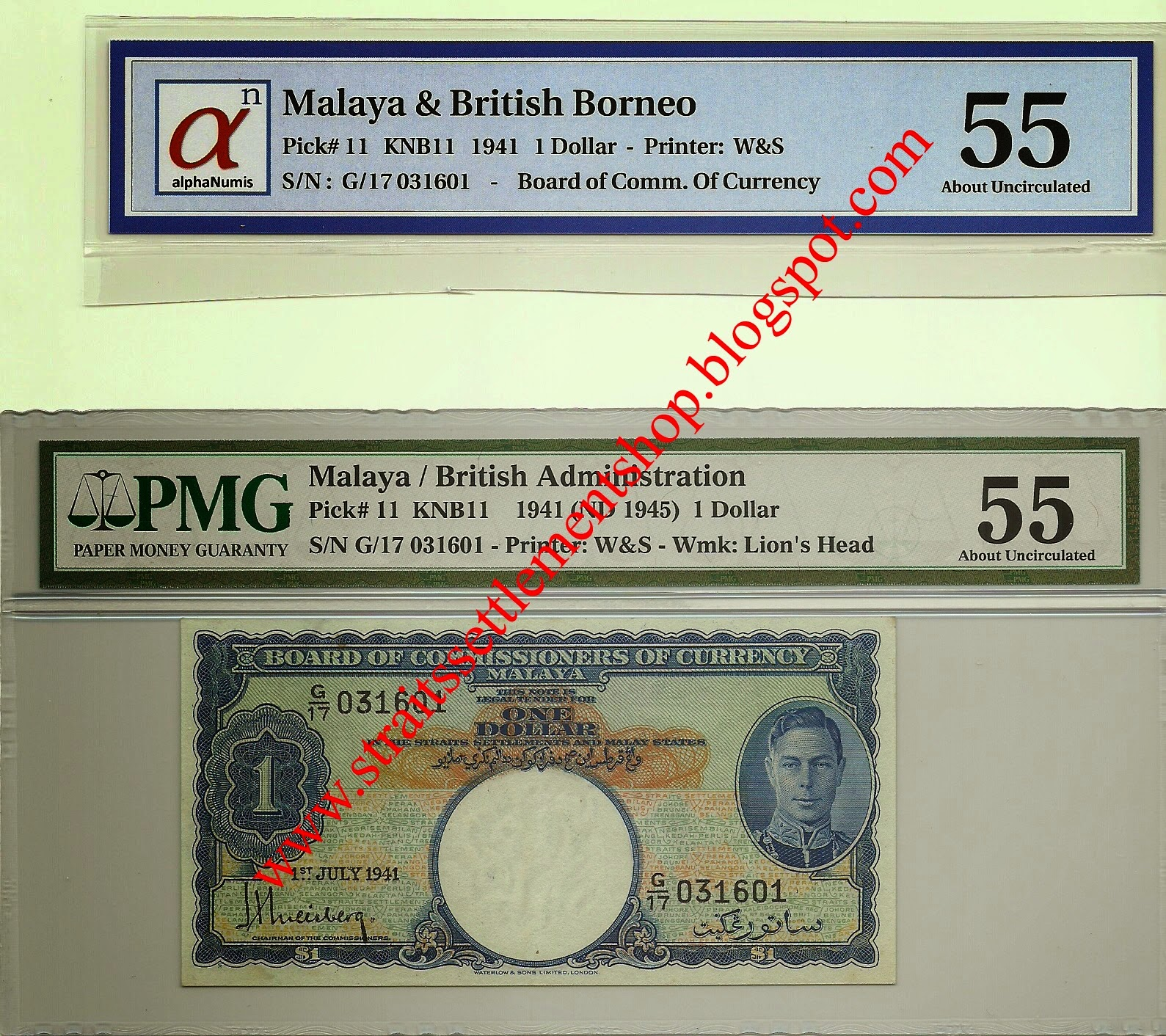 Malaya 1 Dollar 1941 Graded by alphaNumis & PMG