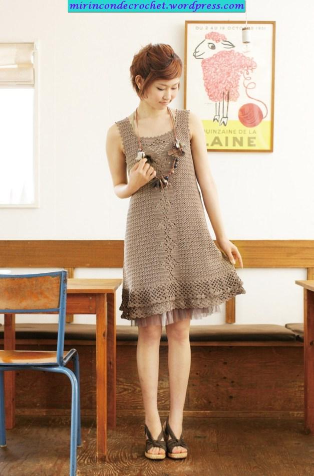 TRICO y CROCHET-madona-mía: Vestido a crochet con padrón y esquema ...