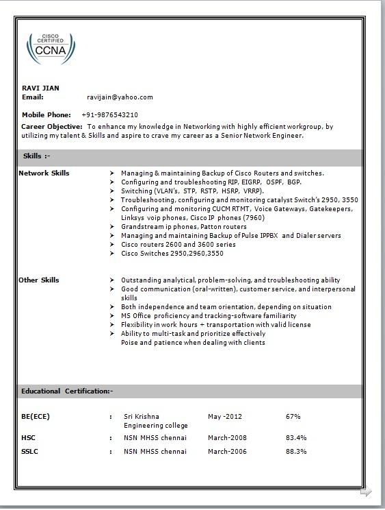 Ccna resume format doc