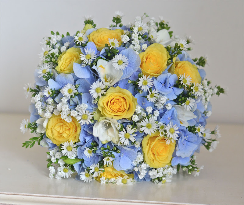 Wedding flowers blog ellies yellow and blue wedding flowers yellow roses blue hydrangea freesias daisies aster and gypsophila make a gorgeous bouquet for ellie fresh modern pretty and slightly country mightylinksfo