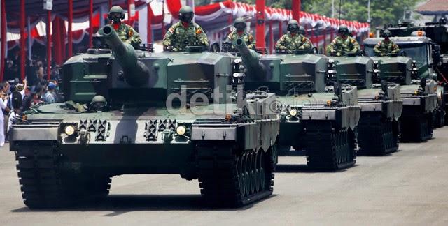 Tank Leopard dalam Defile HUT TNI Ke-69