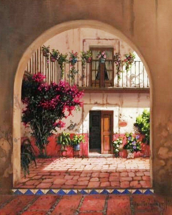 Pinturas cuadros lienzos pintura paisajes de m xico - Cuadros estilo colonial ...
