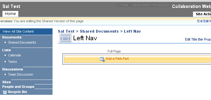 how to add a navigation to master page c table