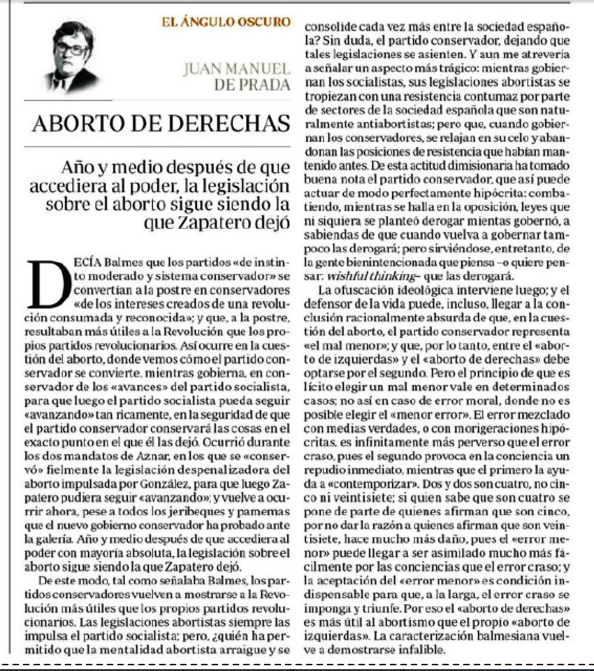 Aborto de Derechas, por Juan Manuel de Prada, ABC, 08/04/2013 ...