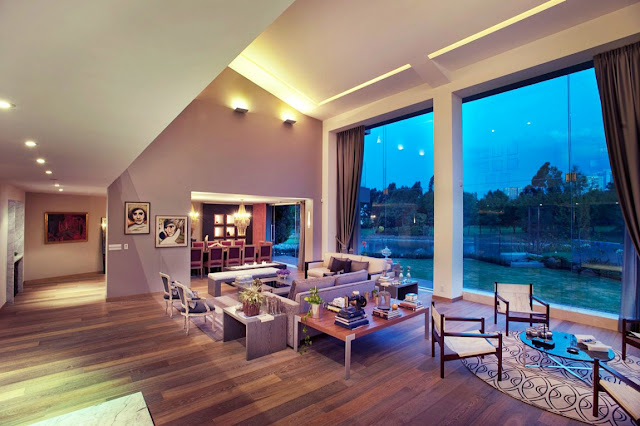 Living room with huge glass windows