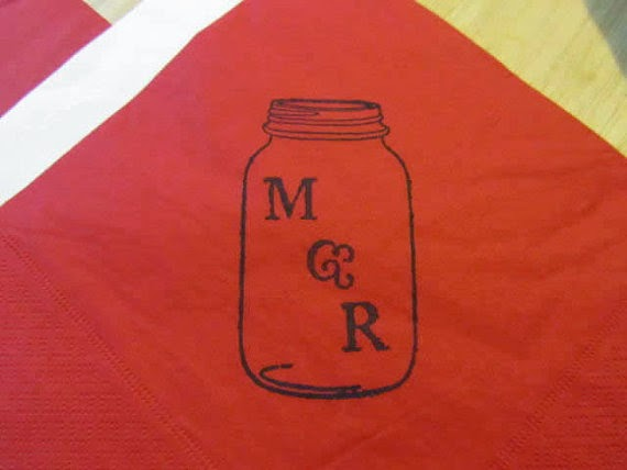 20 Personalized napkin mason jar with initial wedding, birthday party, baby shower