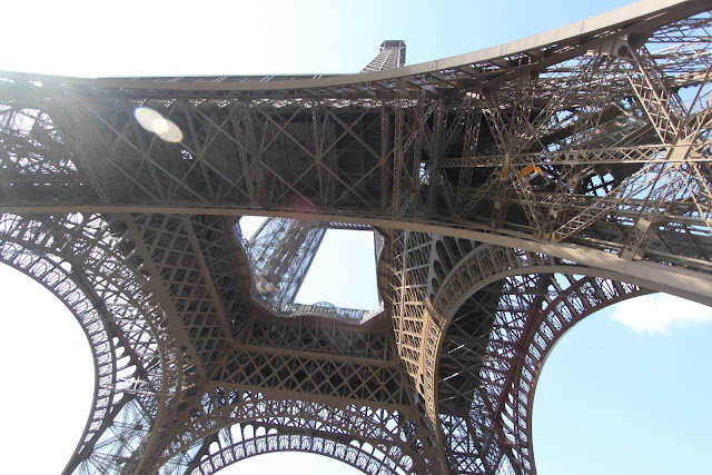 The Eiffel Tower was taken from the ground level in Paris, France