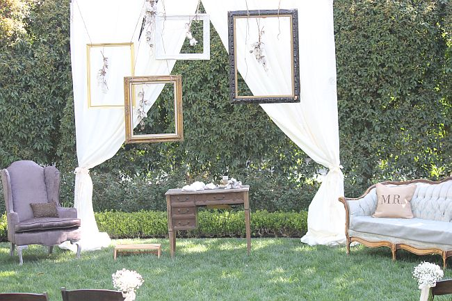 The Yard Was Gorgeous And Formed A Beautiful Backdrop For Their Tall Cream Fabric Curtain We Added Some Of Our Gilded Frames Along With Hanging Cotton