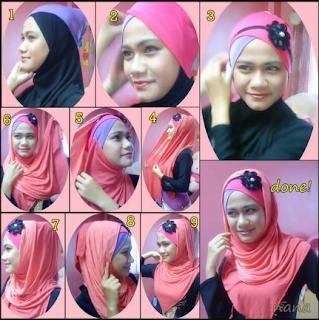 cara memakai jilbab dengan headband Cara Memakai Jilbab Pashmina Untuk Wajah Bulat