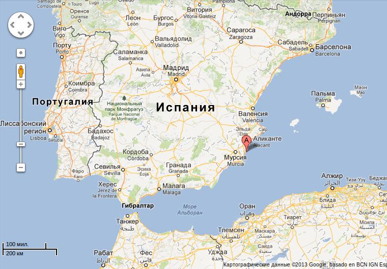 скачать карту аликанте с на русском языке