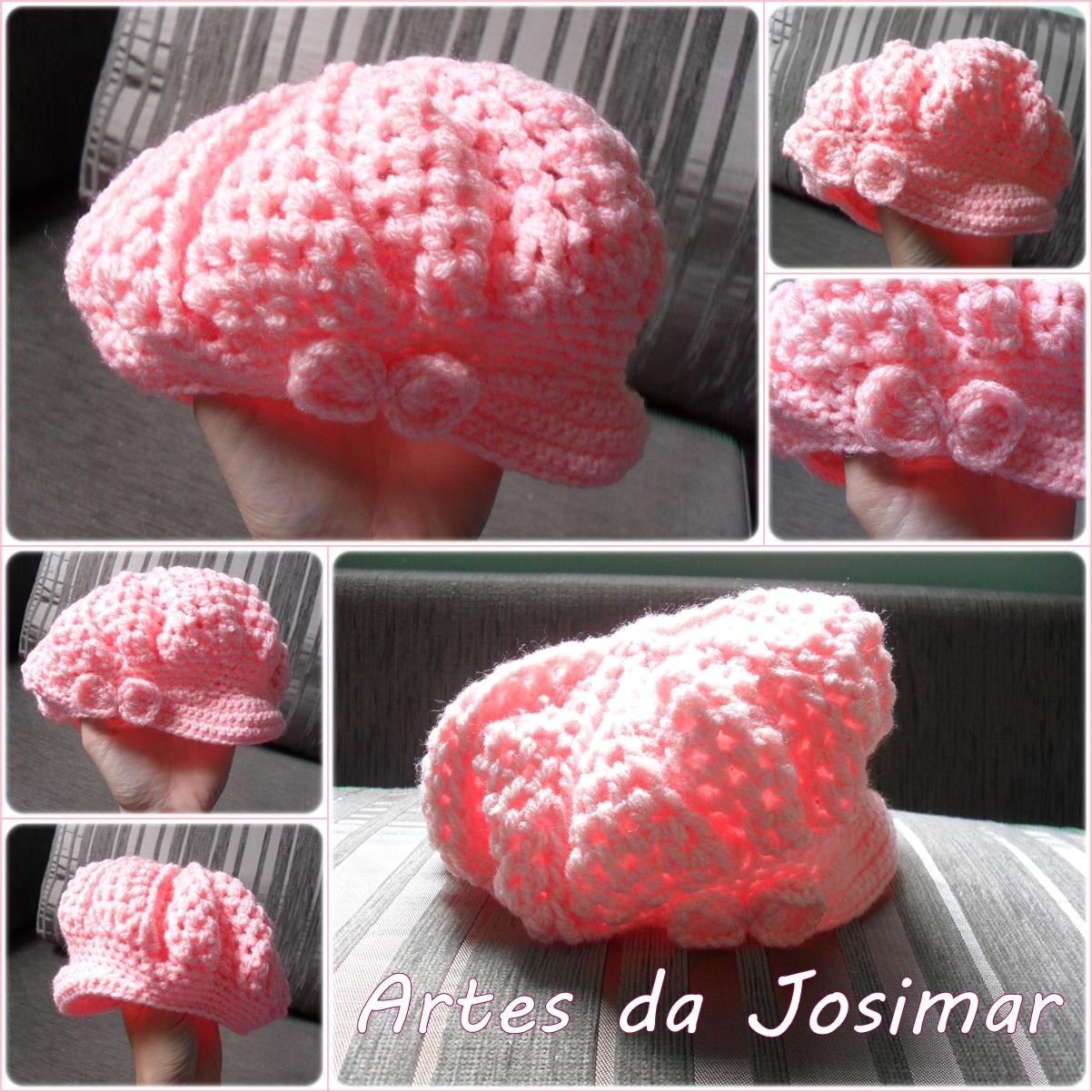 be69e4fe4fd55 Artes da Josimar  Mini Boina em Crochê para a Alice.....