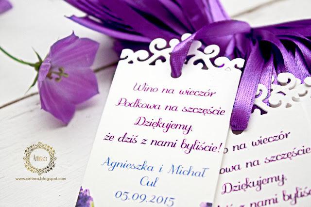 Bileciki z podziękowaniami dla gości Artirea