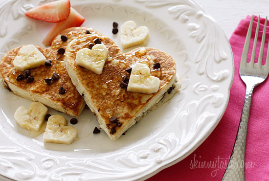 Heart-Shaped Chocolate Chip Banana Pancakes | Skinnytaste