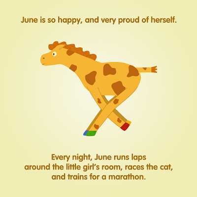June the Giraffe running