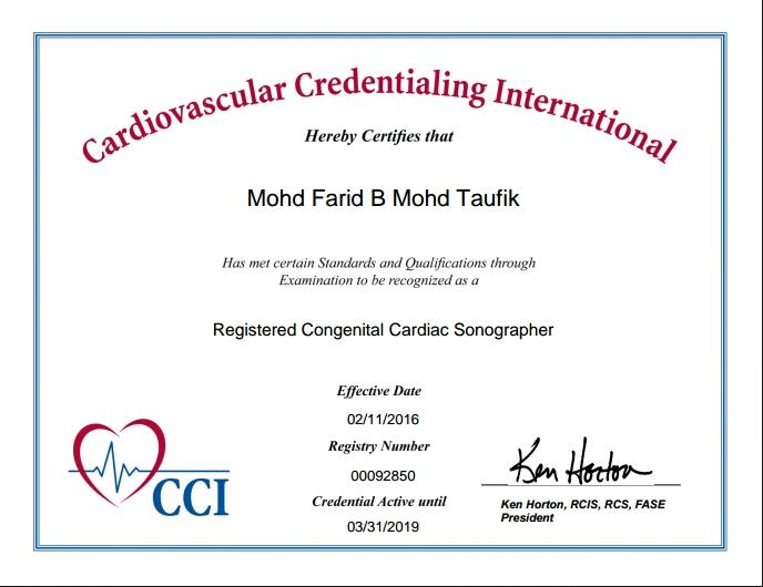 Registered Congenital Cardiac Sonographer (RCCS)
