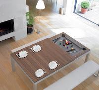 Mesa de bilhar que vira mesa de jantar