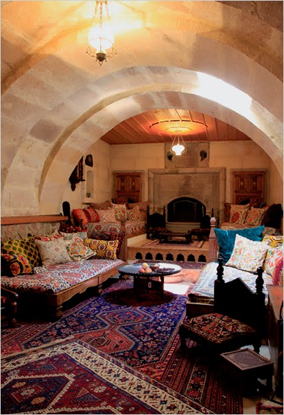 a house built in turkish caves interior design