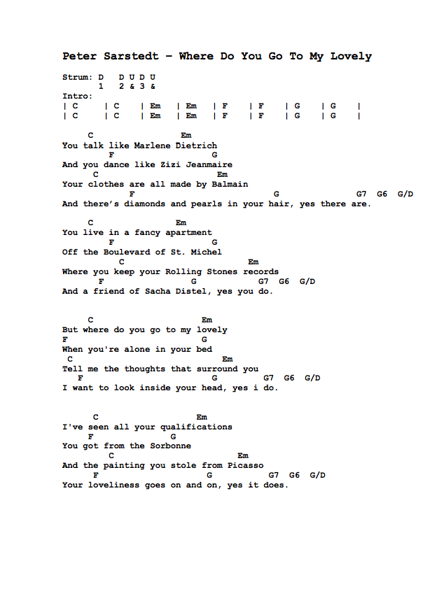Guitar Tabs Lyrics And Chords For Where Do You Go To My Lovely