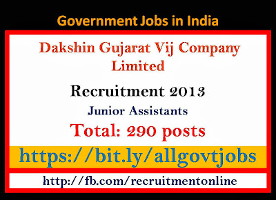 DGVCL Recruitment 2013 for Junior Assistants Jobs