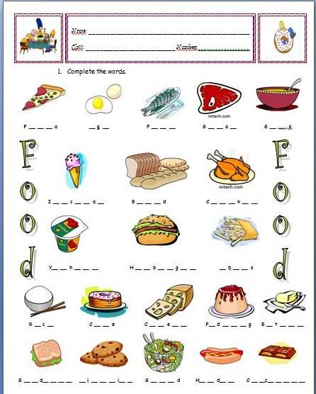 Food: vocabulary worksheet