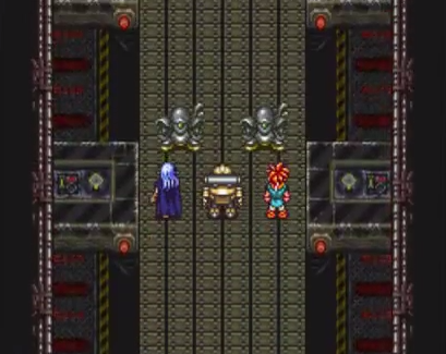 Robo leads the pack as they plunge into the Geno Dome in 2300 AD, fighting robotic sentries on a massive conveyor belt