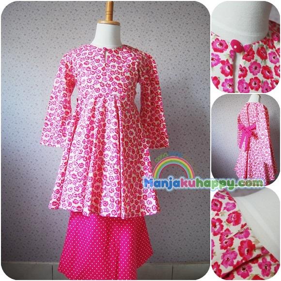 Baju Kurung Peplum Kanak-kanak Dark Pink Flowery Bloom PPL10 (1y to 5y ...