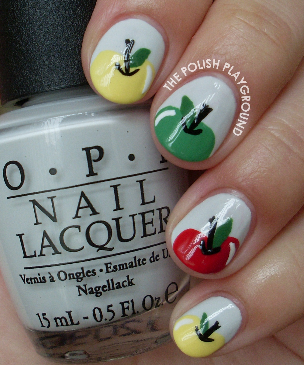 Crisp and Delicious Yellow, Red, and Green Apple Nail Art