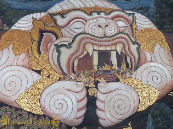 Ramakien in Bangkok Grand Palace: sleeping Hanuman