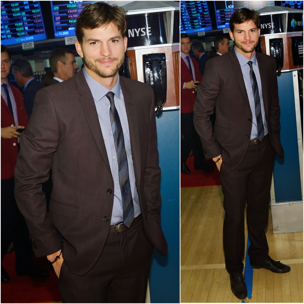 00O00 Menswear Blog Ashton Kutcher, star of 'Jobs' rings the NYSE opening bell on August 6, 2013 in New York, United States.
