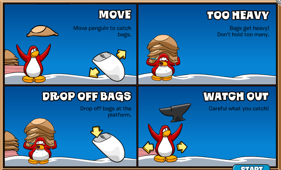 L Club Penguin Cheats MOVE Move penguin to catch