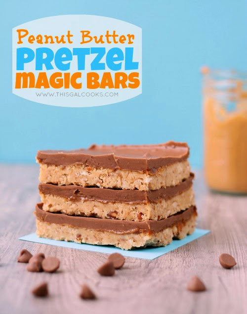 no bake peanut butter pretzel magic bars