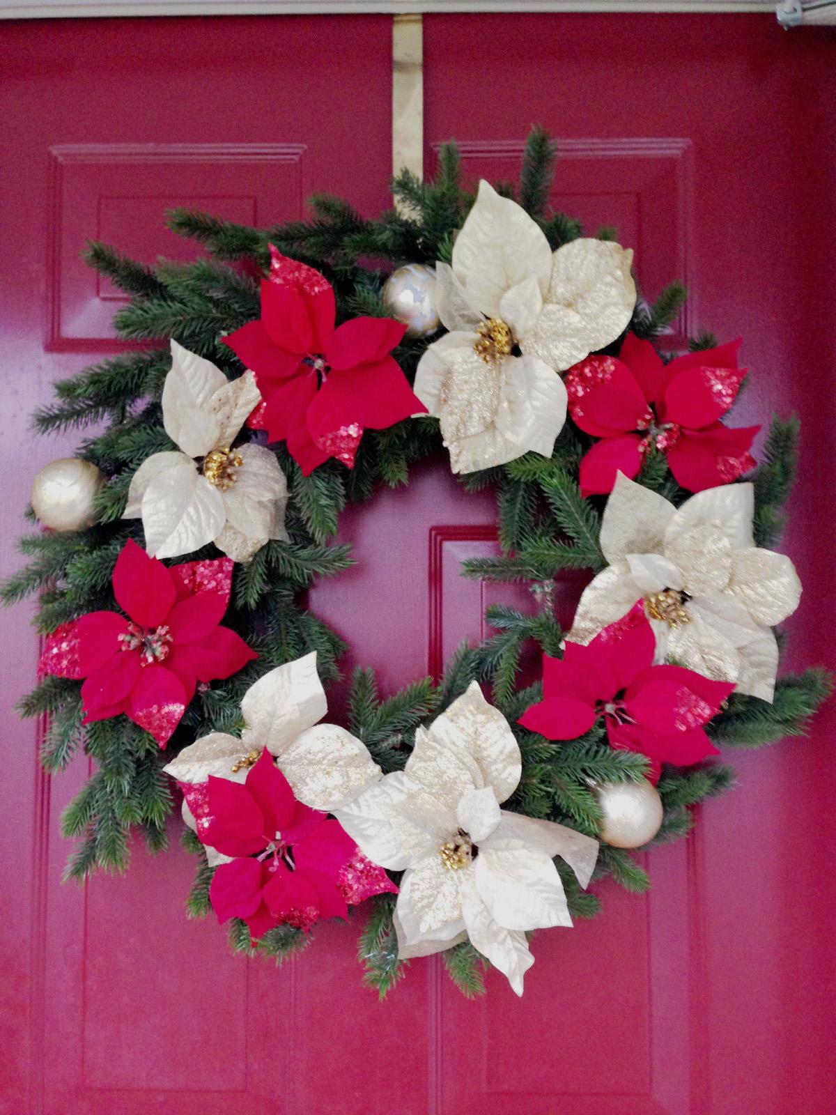 Diy Christmas Front Door Wreath Handmade Paper Flowers