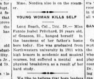 A screenshot of a 1913 story outlining a young woman's suicide.