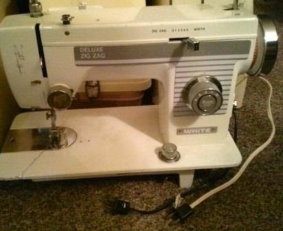 white deluxe zigzag sewing machine