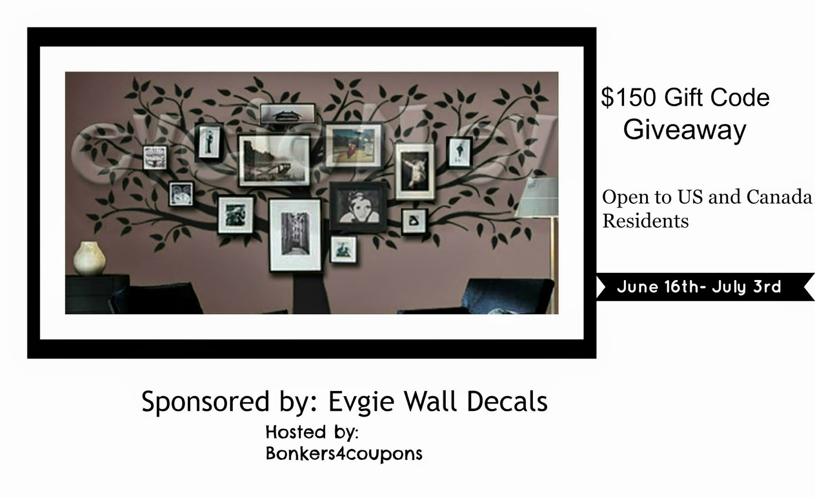 Evgie Wall Decals $150 Gift Code Giveaway