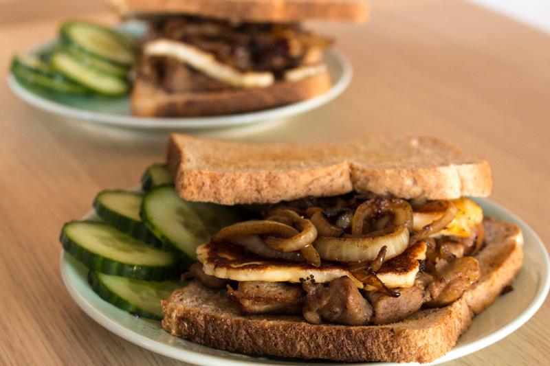 Pork, caramelised onion, and halloumi sandwich | Svelte Salivations