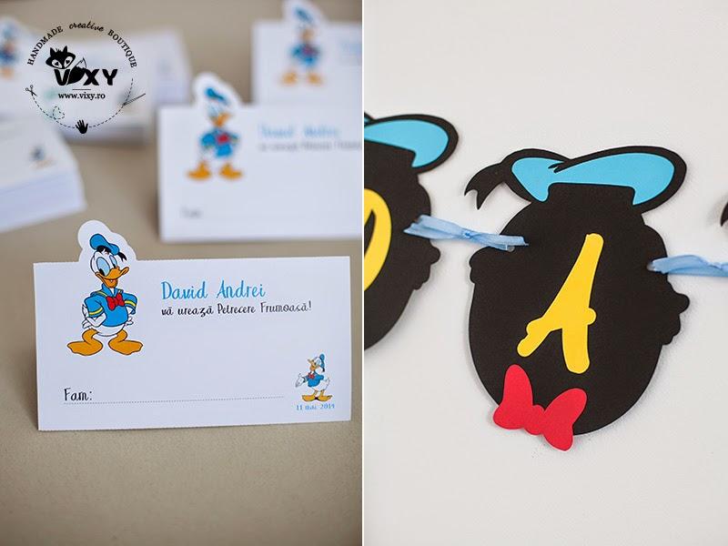 ghirlanda Donald Duck, banner Donald Duck, ghirlanda handmade Donald Duck, pachet petrecere Donald Duck, numar masa Donald Duck, meniu Donald Duck, meniu personalizat, plic dar personalizat, petrecere personalizata, produse handmade