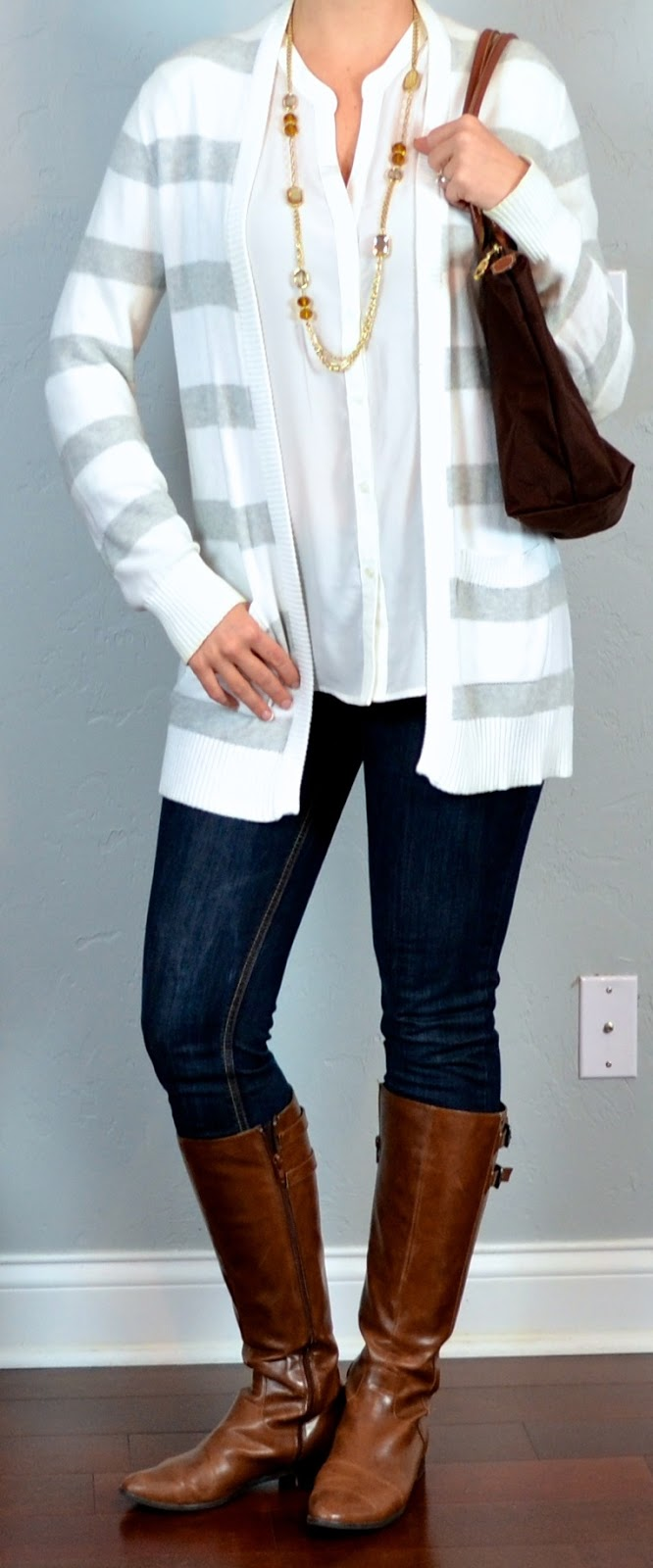 Outfit Post Skinny Jean White Smocked Crepe Blouse Grey Striped Cardigan Brown Riding Boots ...